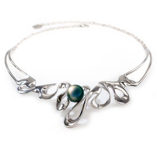 Collier argent perle de tahiti