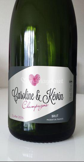 Etiquette bouteille mariage