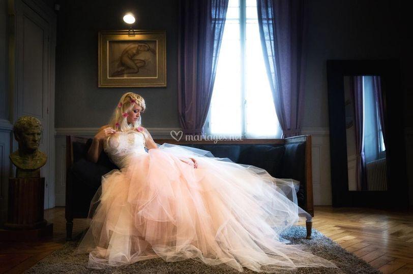 Robe de mariée, rose poudrée