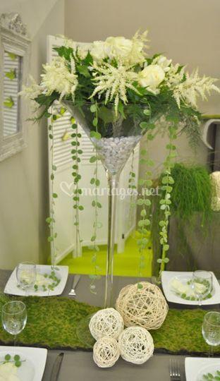 Bouquet blanc dans vase