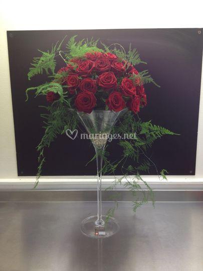 Bouquet rouge dans vase