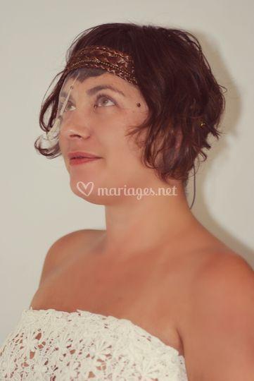 Headband tressé à voilette à clipser