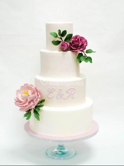 Wedding cake rose et pivoine