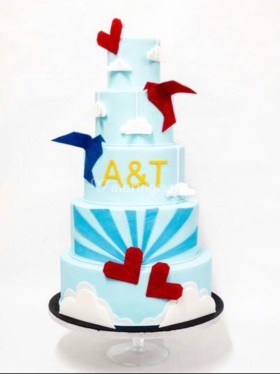 Wedding cake origami