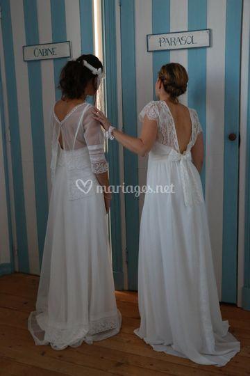 Duo de mariées bohèmes LBA