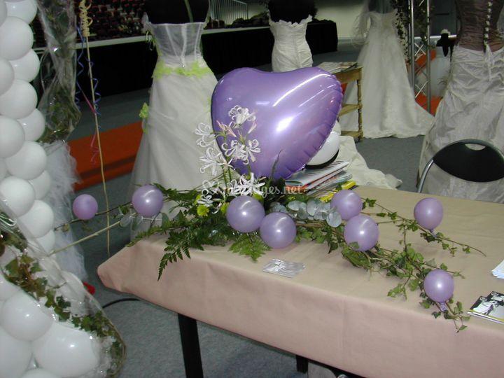 Centre de table Ballon Mylard coeur