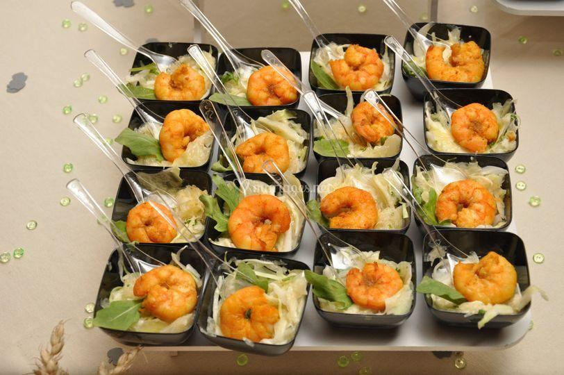 Verrines crevettes marinées