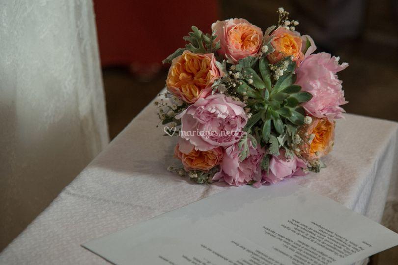 Bouquet de mariée avec plante