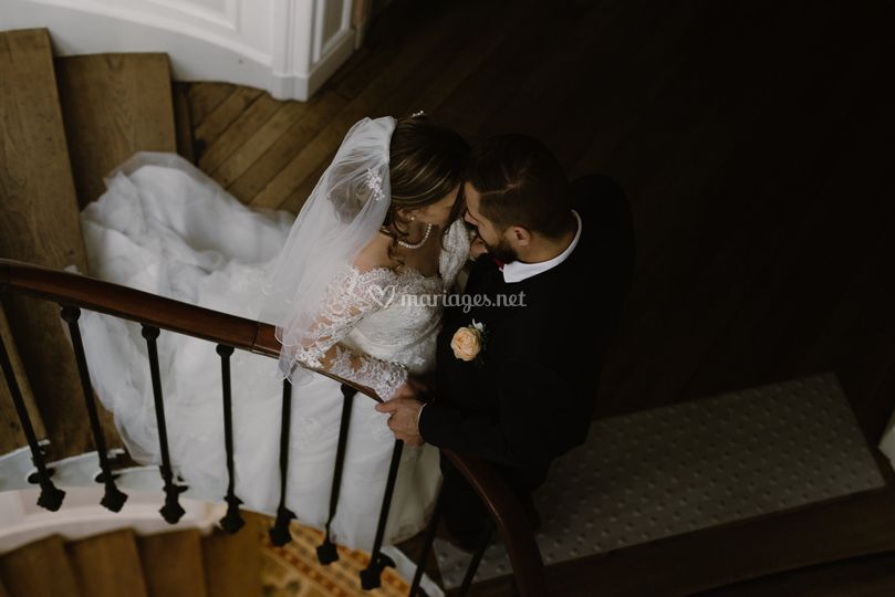 Mariés escalier vue d'en haut