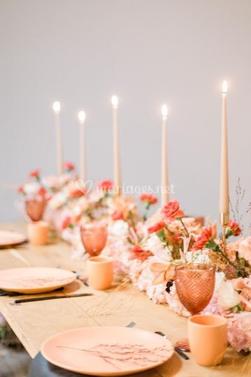 Chemin de table romantique
