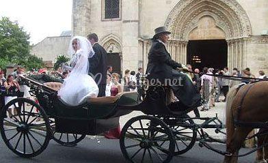 calche devant glise sur mariage en calche - Mariage En Caleche