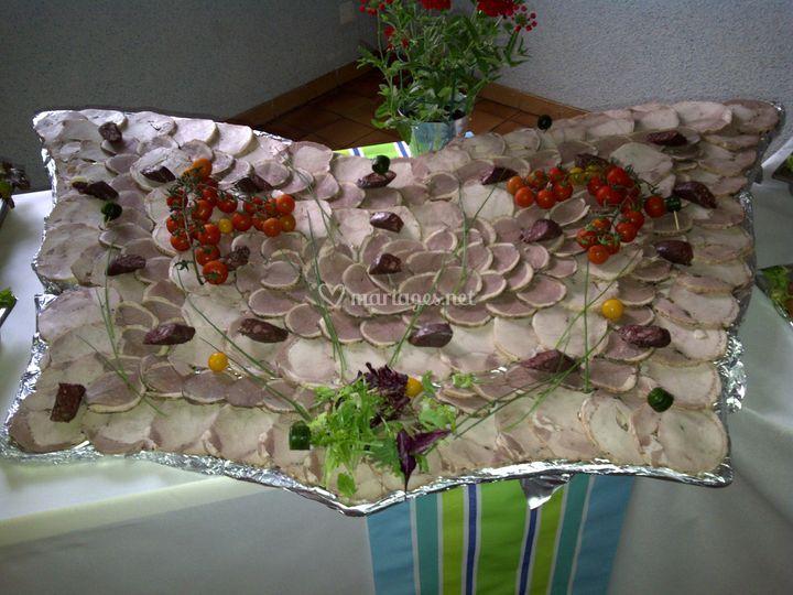 Papillon de rôti de porc et rôti de magret de canard