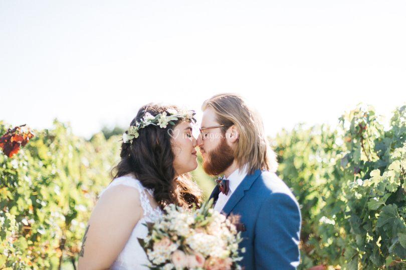 Portrait des mariés vignes