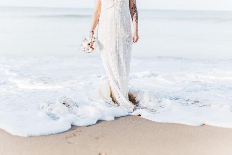 La mariée sur la plage