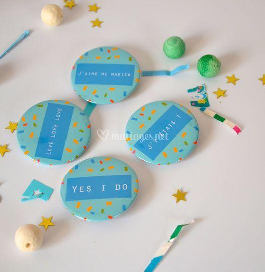 Badges et confettis