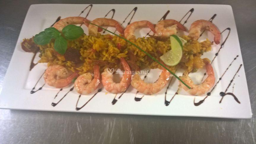 Crevettes et riz à l'espagnole