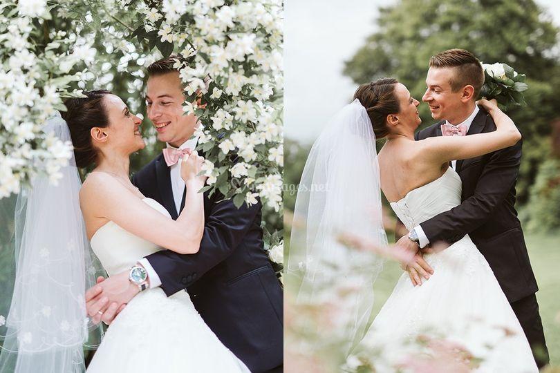 Photo de couple mariés parc