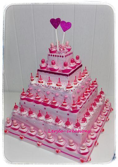 Pyramide cupcake rose/bl Halal