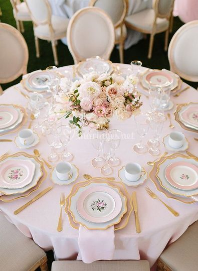 Décoration de table rose