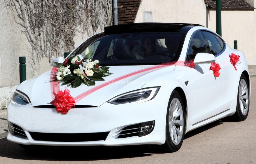 Tesla avec bouquet floral rouge