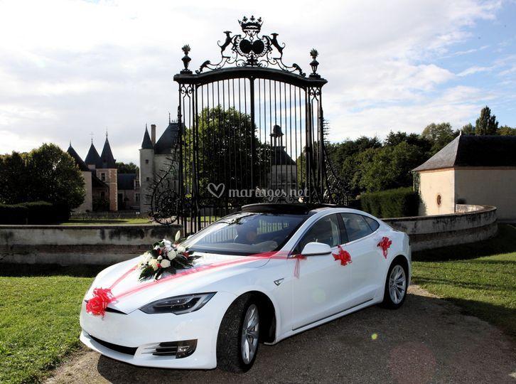 Tesla avec le bouquet floral