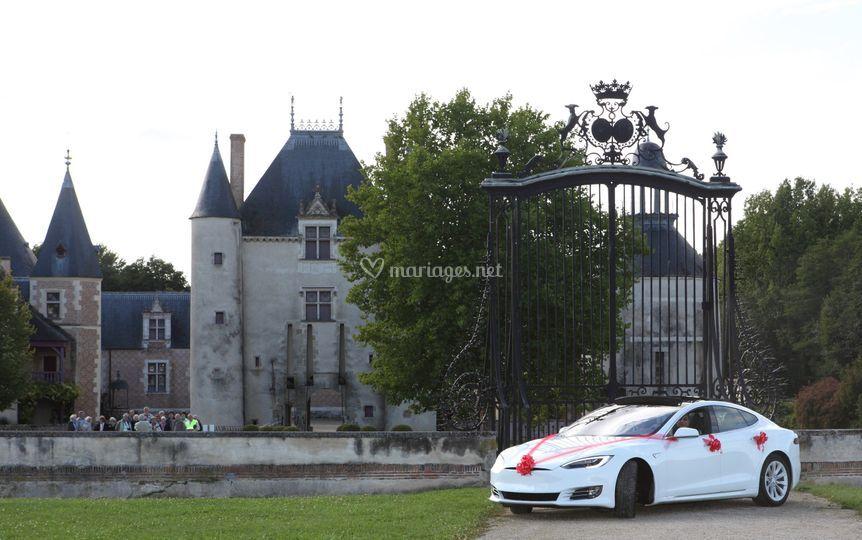 Tesla devant le chateau