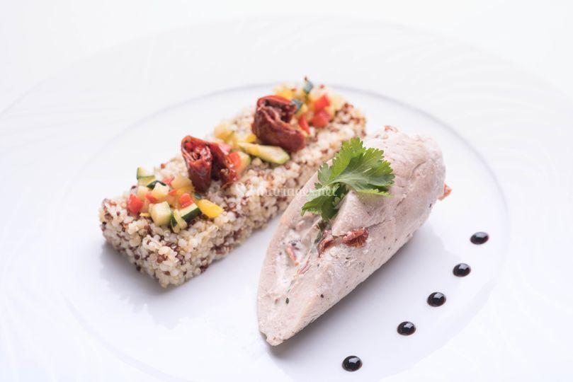 Volaille farcie, quinoa