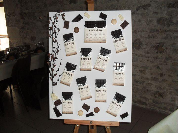 Plan de table chocolat
