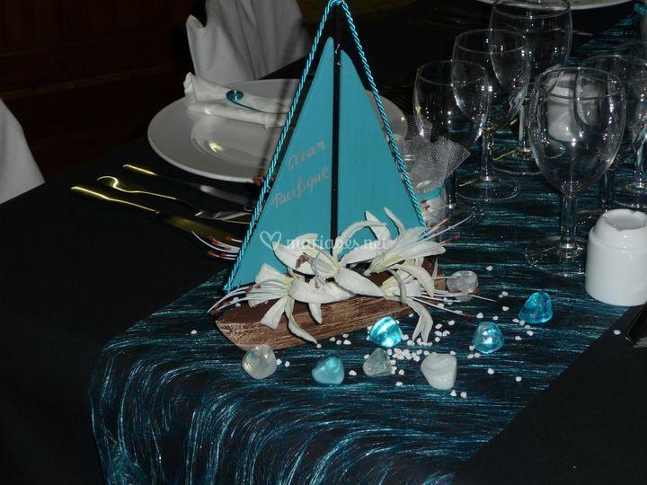 Décor de table, turquoise