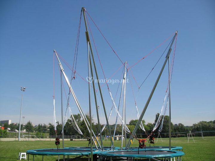 Acro-bungee trampolines