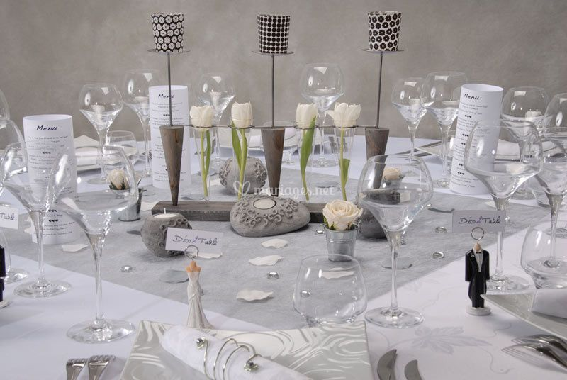 Table mariage en gris et blanc de d co2table photos - Deco table argent et blanc ...