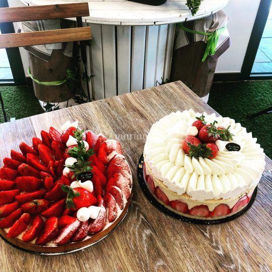 Fraisier et tarte au fraises