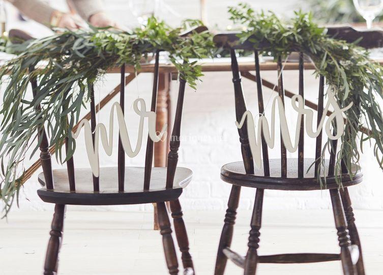 Pancartes chaises Mr&Mrs