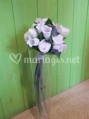 Bouquet blanc gris prune