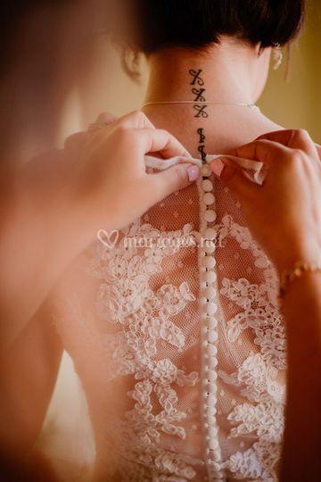 Dos de robe boutons