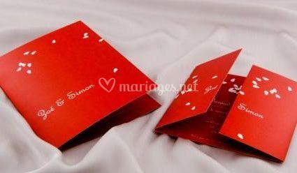 Faire parts mariage pétales de pluie rouges