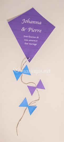 Faire part mariage cerf volant