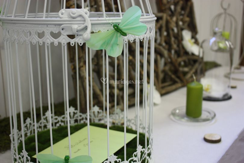 Urne cage mariage nature