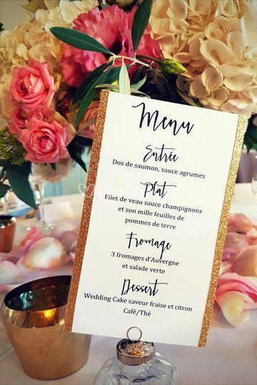 Menu de mariage