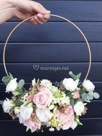 Bouquet cercle rose et blanc