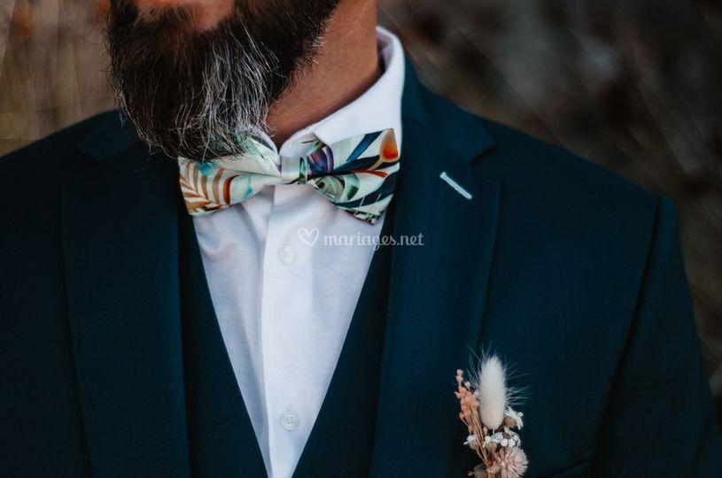 Boutonnière fleur sèchée marié