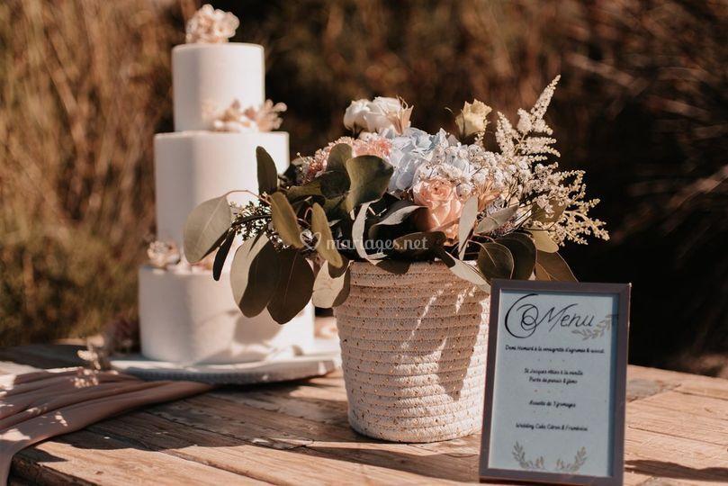 Centre de table mariés