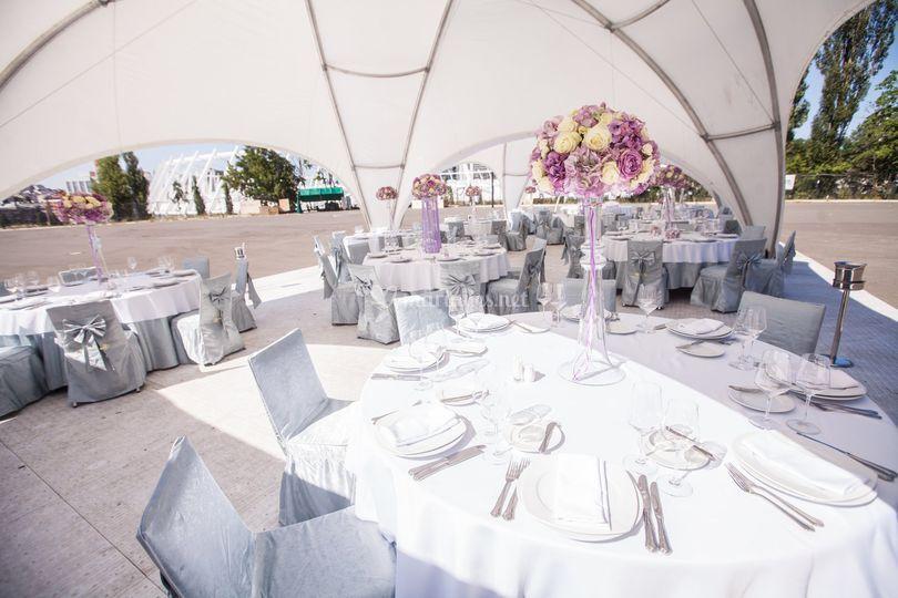 Tables mariage dôme