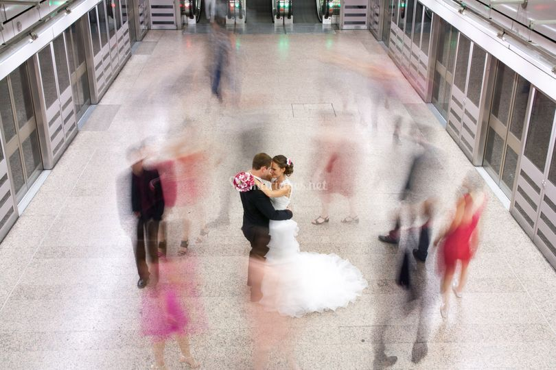 Photos mariés dans le metro