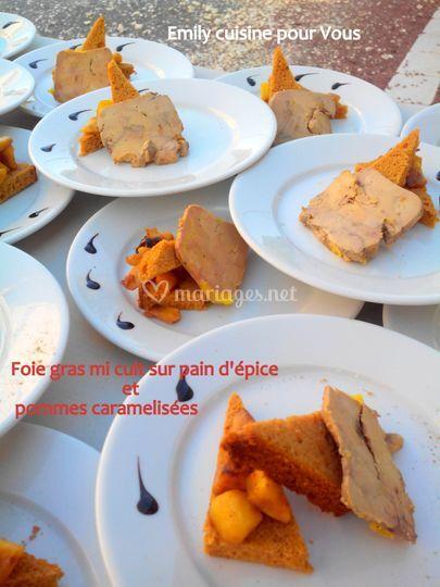 Foie gras, pommes