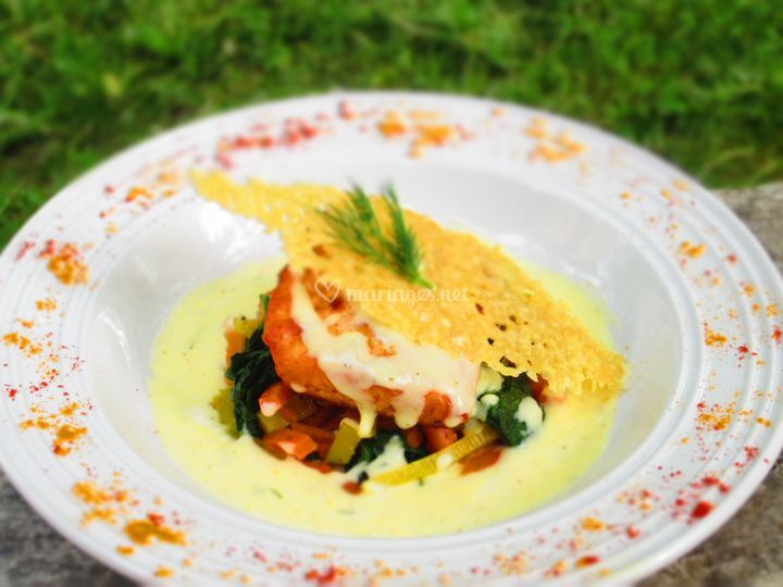 Saumon & petits légumes curry