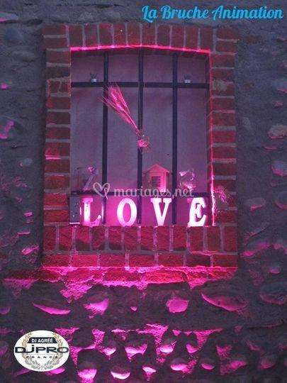 Eclairage ambiance Love Bruche
