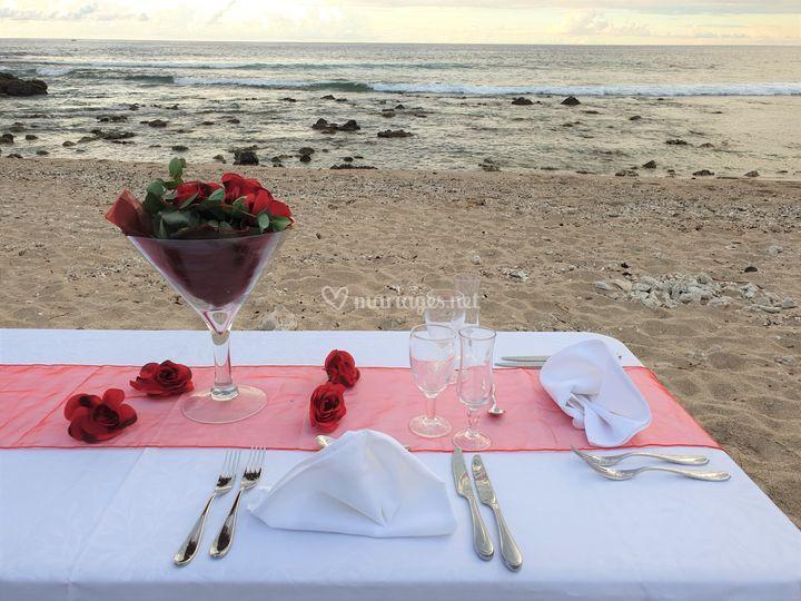 Mise en scène repas romantique