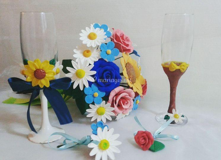 Bouquet et verres champêtres