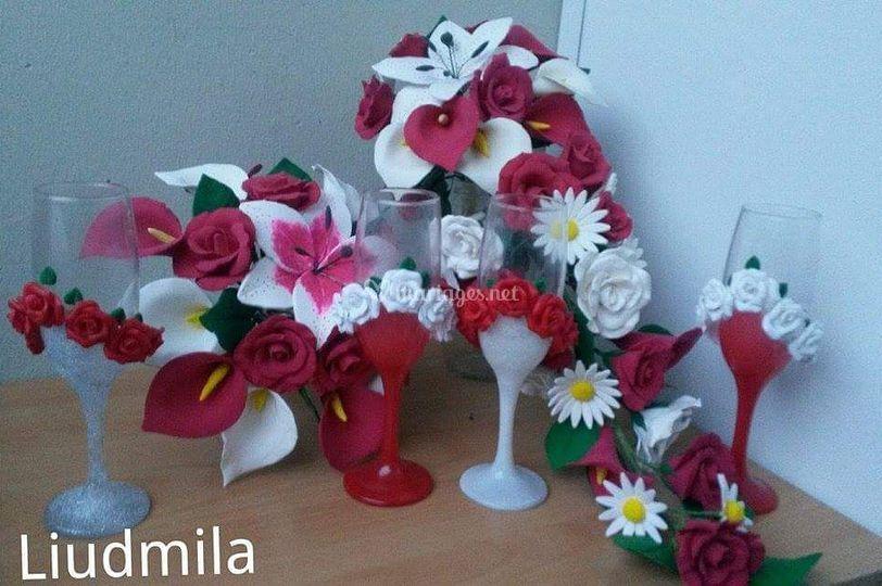 Deux bouquets et flûtes